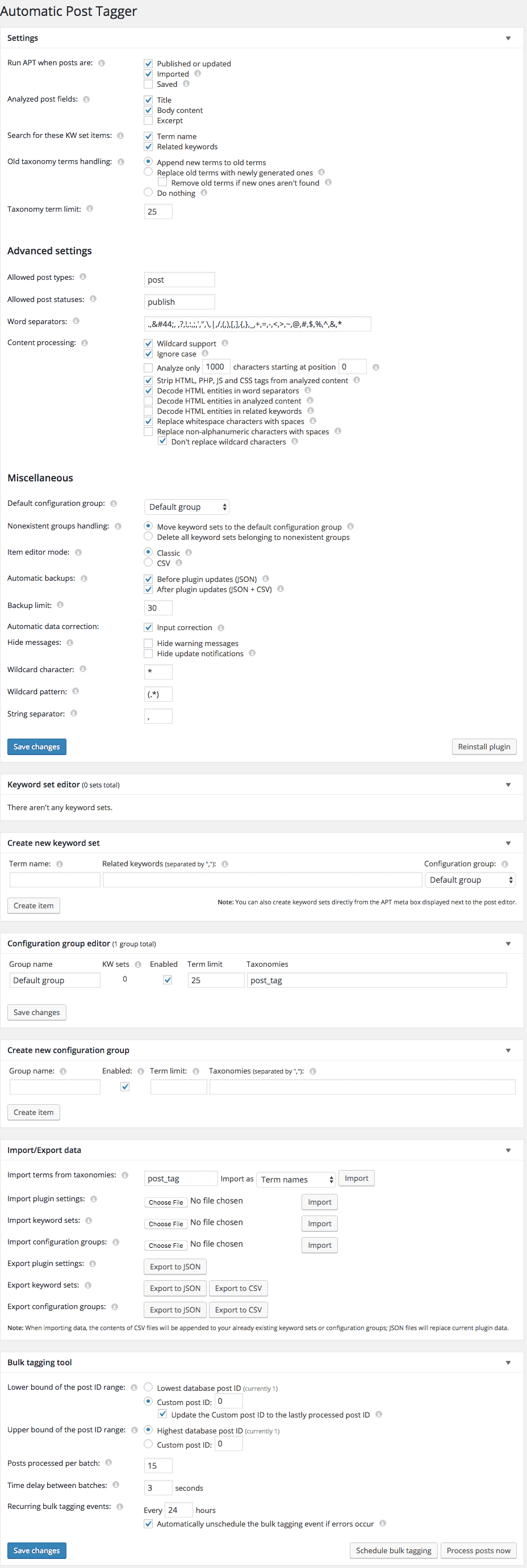 Automatic Post Tagger Settings