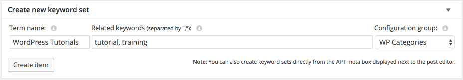 Create Category Keyword Set