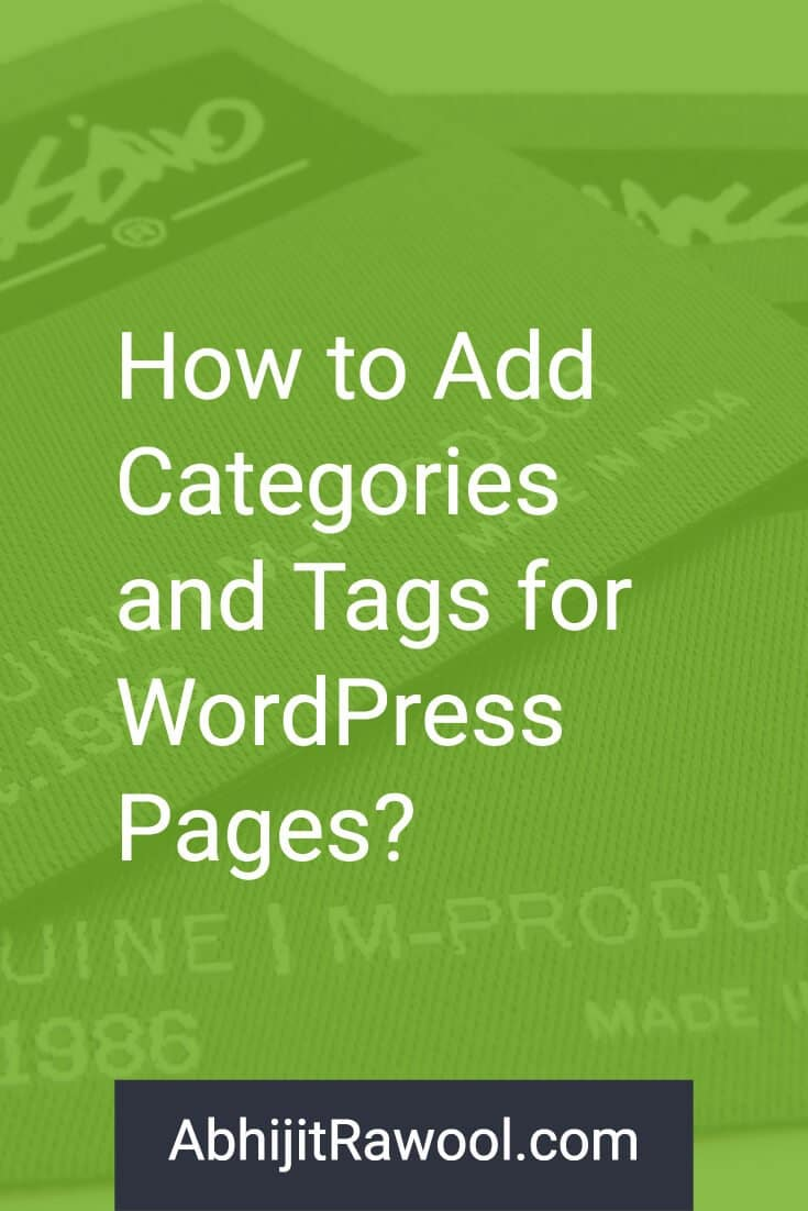 Categories and Tags for WordPress Pages