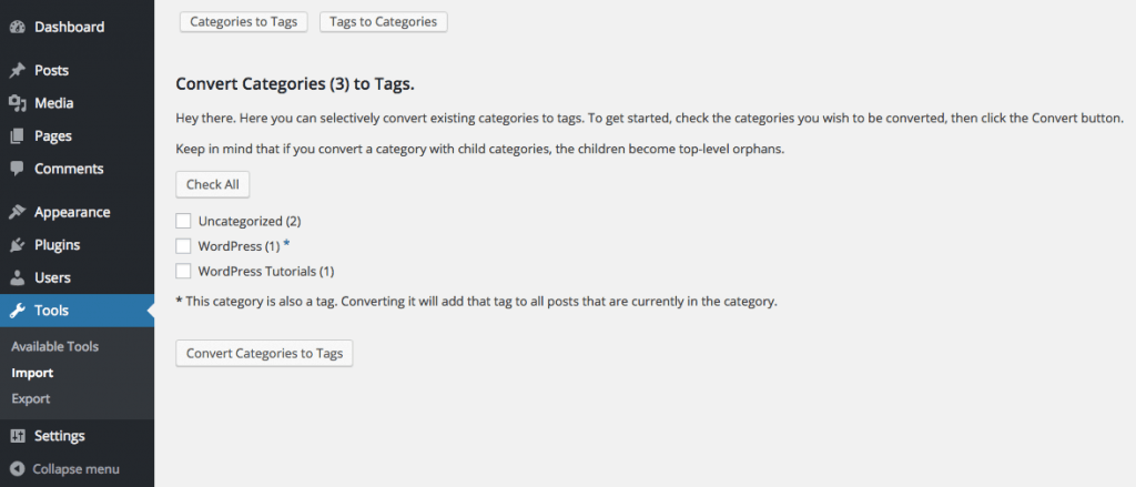 Convert Tags to Categories Page