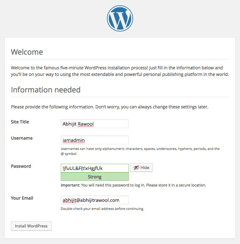 WordPress Setup Step 2