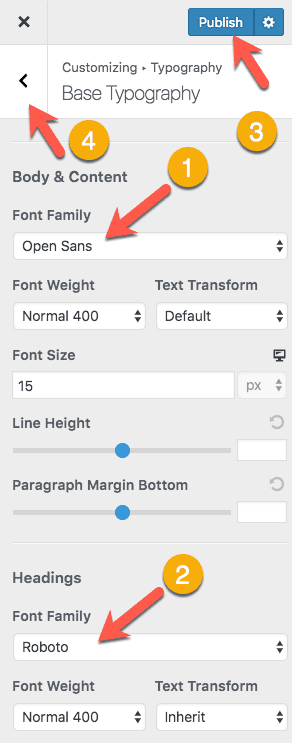 Customizer Base Typography Settings