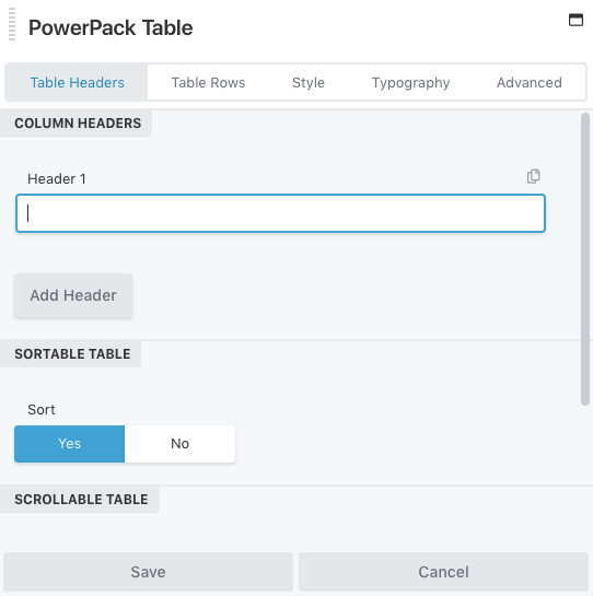 PowerPack Table Options Popup