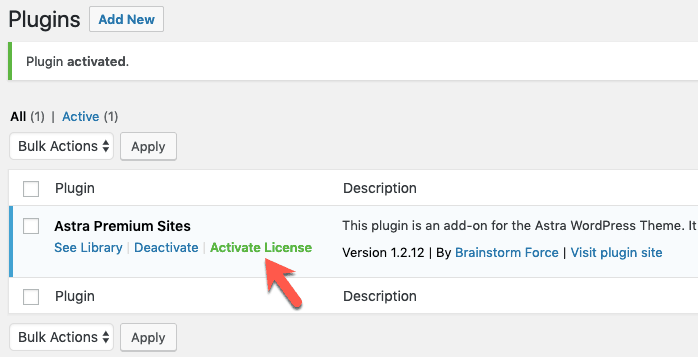 Activate License Astra Premium Sites Plugin