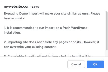 Astra Sites Warning Popup