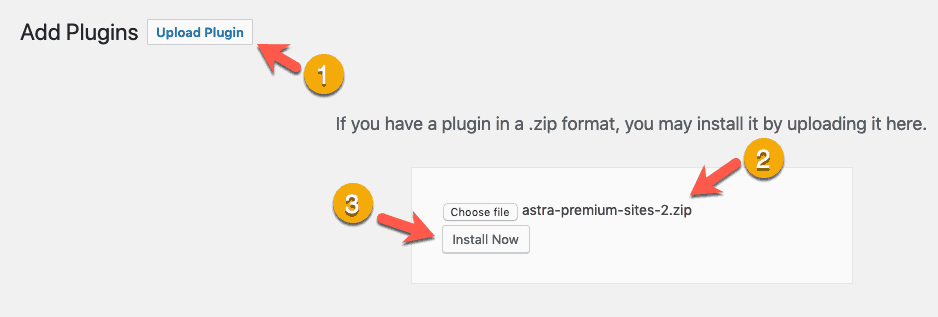 Install Astra Premium Sites Plugin