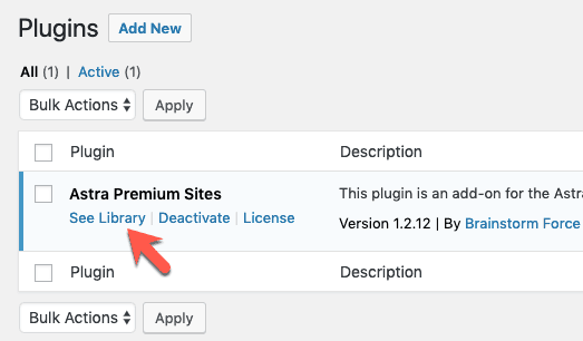 See Library Astra Premium Sites Plugin