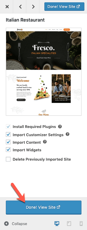 View Imported Italian Restaurant Starter Site
