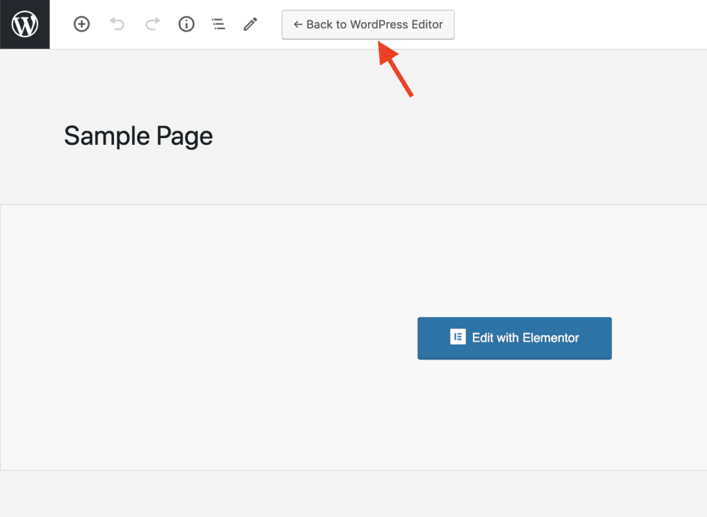 Elementor Back to WordPress Editor Button