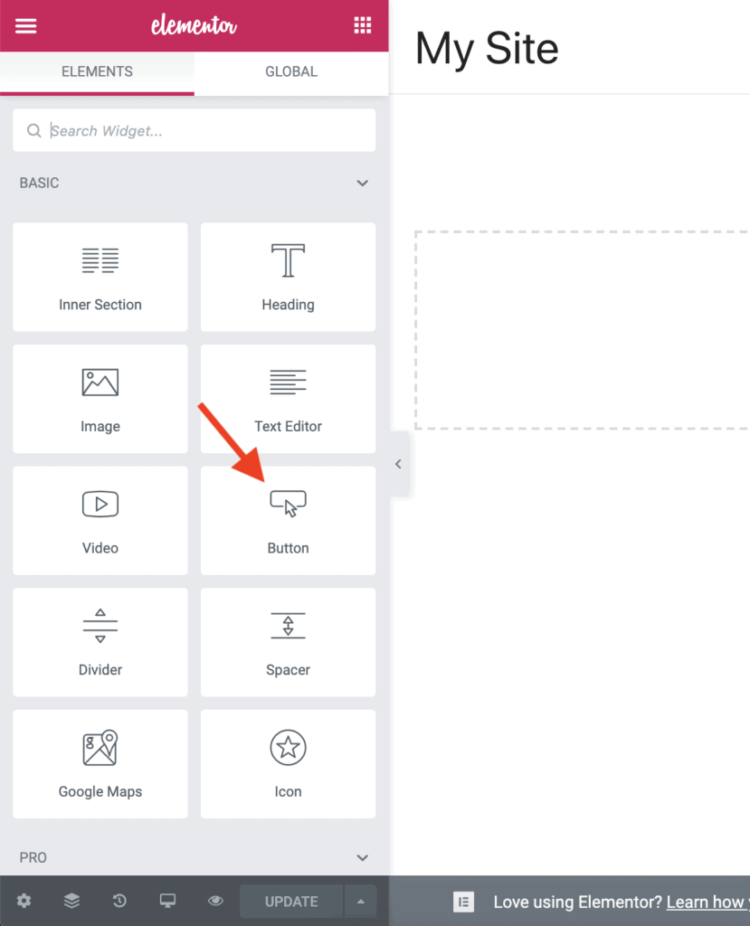 Drag-and-drop Button widget
