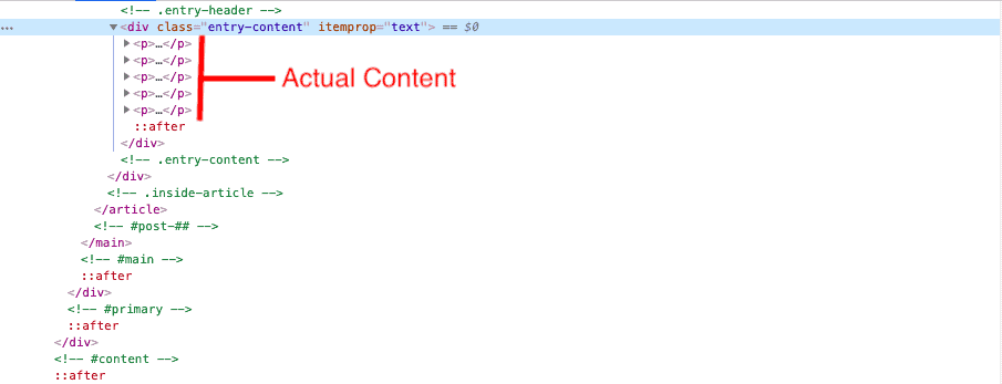 Code output of page built without Elementor