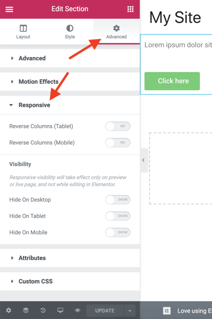 Section Responsive settings