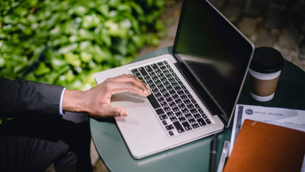 Image of a man on a laptop