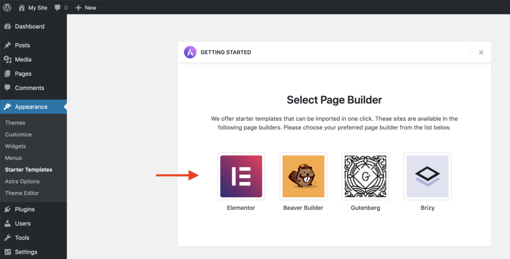 Select page builder