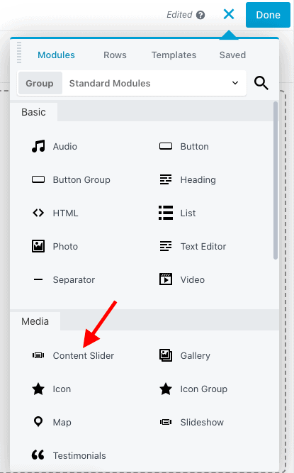 Drag-and-drop Content Slider module