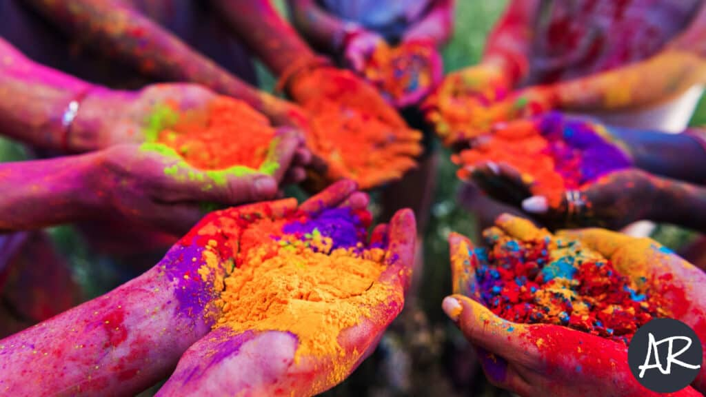 Image of people playing with colors